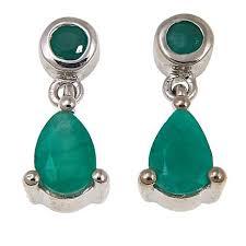 emerald drop earrings colleen 0 79ct sakota emerald sterling silver drop earrings