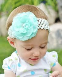 mint green headband hair bow flower clip mint green flower hairbow with crochet