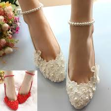 delicate lace flower handmade pearl chain high heels party wedding