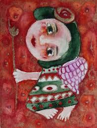 folk art painting aceo original naive primitive watercolor