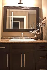 espresso brown shaker style bathroom vanity with a leather look