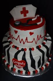 red black amp white zebra stripe nursing graduation cake with
