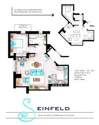 hand drawn floor plans of popular tv shows seinfeld