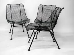 wrought iron and mesh dining chairs by russell lee woodard co