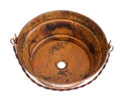 buy bucket one bathroom copper sink in natural finish at discount