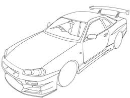 nissan skyline r34 coloring page free printable coloring pages