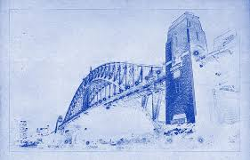 sydney harbour bridge blueprint photograph by kaleidoscopik