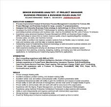 Senior Business Analyst Resume Sample Business Analyst Resume 8 Documents In Pdf Word