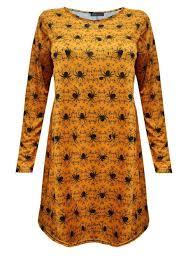 womens halloween spider web orange print top swing dress leggings