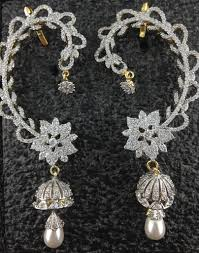 kaan earrings designer cz kaan earrings with pearl indian kundan islamic