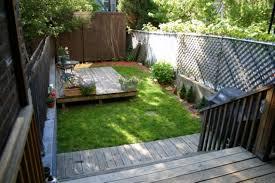 decor small backyard landscape ideas using small deck and metal