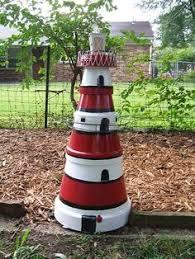 Lighthouse Garden Decor Diy Clay Pot Lighthouses Gardens Diy Clay And Diy And Crafts