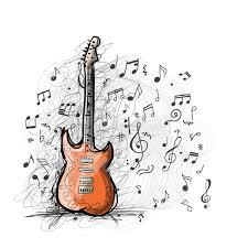 art sketch of guitar design stock vector image 60612692