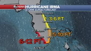 New Smyrna Beach Map Map The Projected Storm Surge In Florida For Hurricane Irma As Of