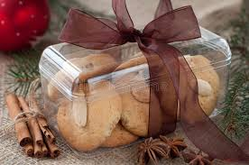 homemade christmas almond cookies in the box stock images image