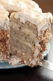 banana cake with praline filling and white chocolate ganache