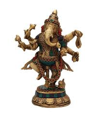 statuestudio ganesh idol dancing pose turquoise coral color