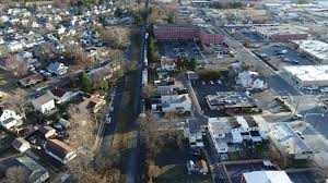 aerial view freight train gloucester new jersey heading to camden