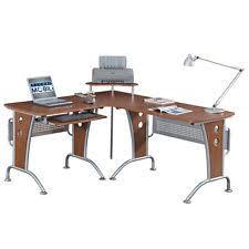 Computer Workstation Desk Techni Mobili L Shaped Computer Desk In Mahogany Ebay