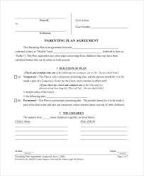 parenting plan template parenting plan agreement parenting