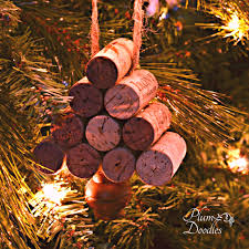 wine cork tree ornament plum doodles