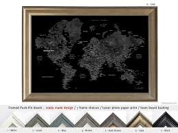 Framed World Map by Personalized Framed Push Pin Board Black World Map For Marking