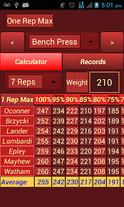 Bench Reps To Max Chart One Rep Max Calculator Android Apps On Google Play
