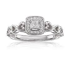 gold promise rings cut diamond halo promise ring in 10k white gold
