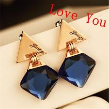 earrings brand 2018 fashion women drop earrings navy blue square dangle