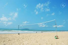 beach volleyball court as well as the background of the sea stock