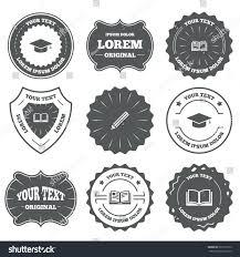 graduation signs vintage emblems labels pencil open book stock vector 325119122