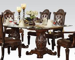 dining set w glass top table vendome cherry by acme ac62005set