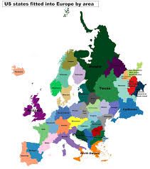 u s states fitted into europe by area vivid maps