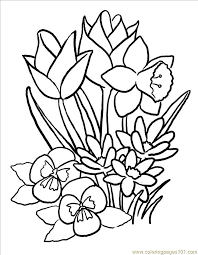 spring flowers color print kids coloring