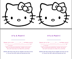 hello kitty birthday invitation template plus motived black white