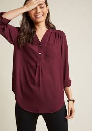 pam breeze ly long sleeve tunic in bordeaux modcloth