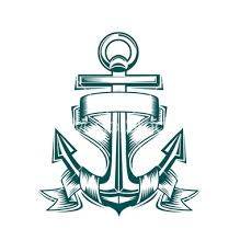 anchor with ribbon tattoo design by seamartini