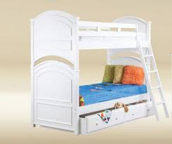 White Bunk Bed With Trundle Jay 0115w White Arch Bead Board Twin Twin Trundle Bunk Bed