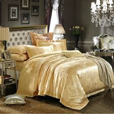 Silk Duvet Set Green Blue Gold Satin Bedding Set Home Textile 4pcs Jacquard Silk