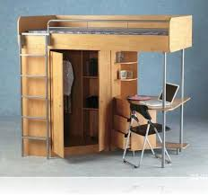 cozy chair and small oak desk under modern teak bunk beds with