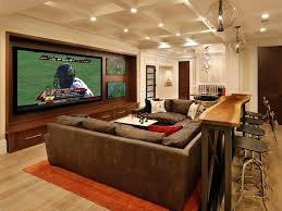 Cool Basements Interior Fantastic Modern Home Media Room Design With Round