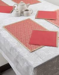 Swayam White N Pink Floral Swayam Pink Floral Motif Table Mat N Napkin Set Online Shopping