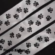 paw print ribbon black paw print ribbon 1 3 8 inch wired satin ribbon