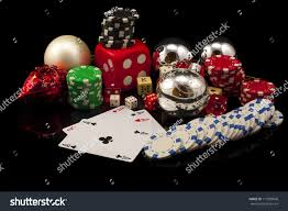 comoposicion christmas poker chips cards dice stock photo