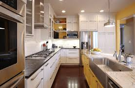 kitchen alluring yellow and white painted kitchen cabinets