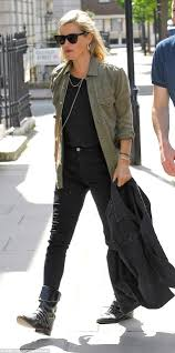 cool biker boots kate moss channels a military vibe in khaki green daily mail online