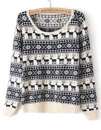 navy sleeve deer pattern knit sweater shein sheinside