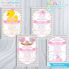 baby shower invites for girl baby shower invitations girl rubber ducky yellow pink gray