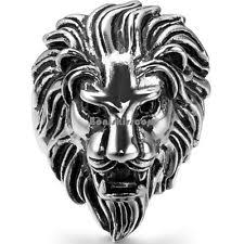 surgical steel band lion ring ebay