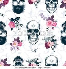 skull wrapping paper floral seamless pattern with monochrome human skulls in clipart